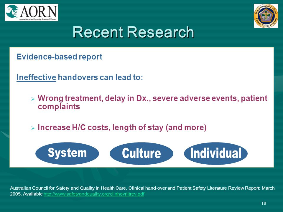 18 Evidence-based report Ineffective handovers can lead to:  Wrong treatment, delay in Dx., severe adverse events, patient complaints  Increase H/C