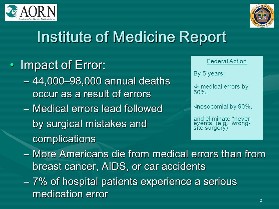 3 Institute of Medicine Report Impact of Error:Impact of Error: –44,000–98,000 annual deaths occur as a result of errors –Medical errors lead followed