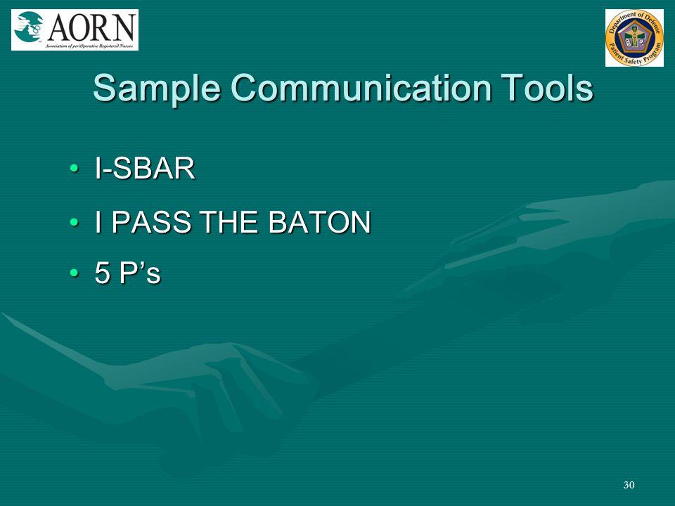 30 Sample Communication Tools I-SBARI-SBAR I PASS THE BATONI PASS THE BATON 5 P's5 P's