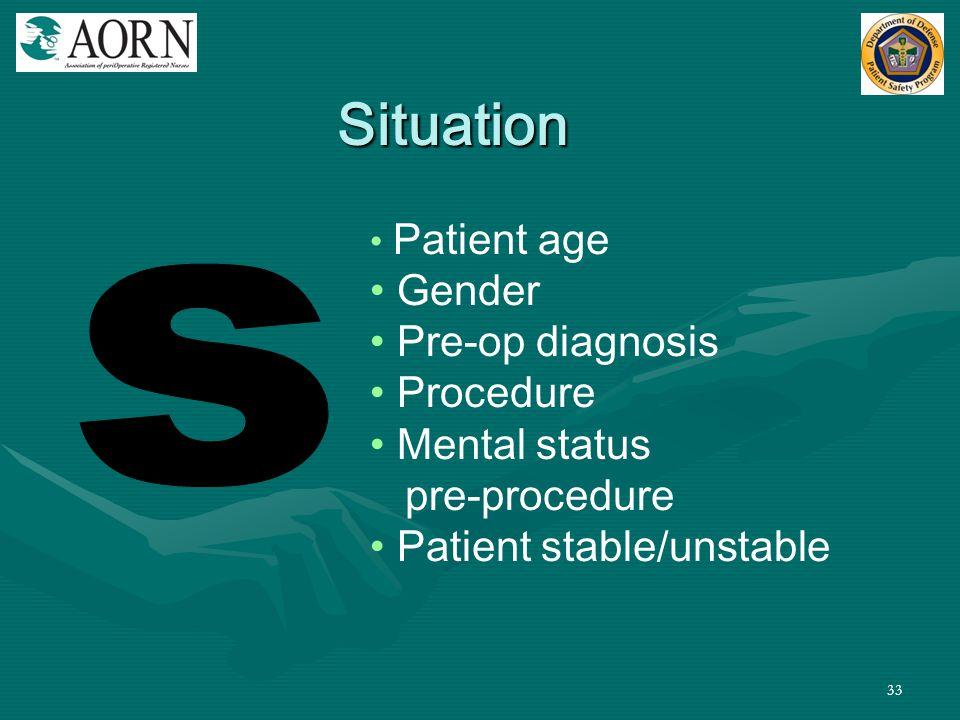 33 Patient age Gender Pre-op diagnosis Procedure Mental status pre-procedure Patient stable/unstable Situation