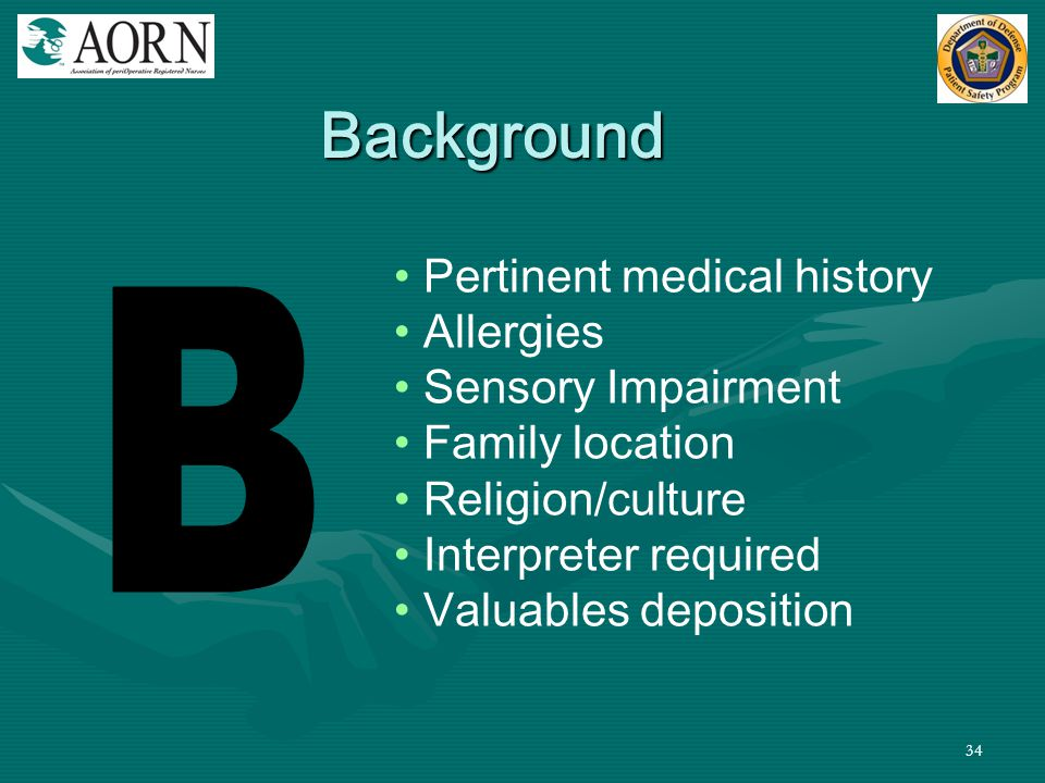 34 Pertinent medical history Allergies Sensory Impairment Family location Religion/culture Interpreter required Valuables deposition Background