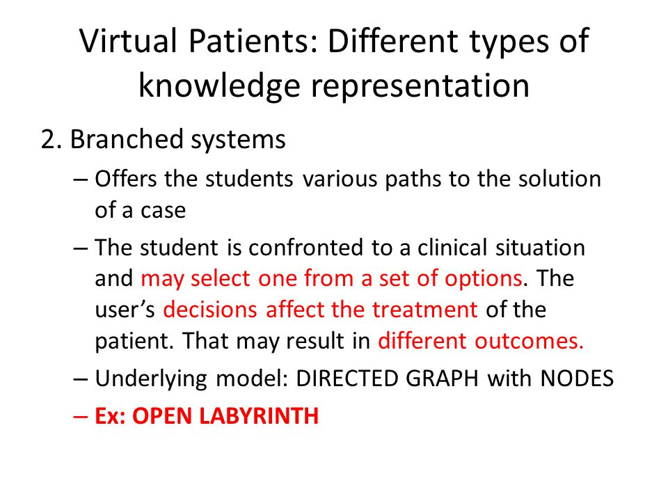 Virtual Patients: Different types of knowledge representation 2.