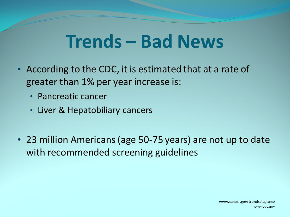 Trends – Bad News According to the CDC, it is estimated that at a rate of greater than 1% per year increase is: Pancreatic cancer Liver & Hepatobiliary cancers 23 million Americans (age 50-75 years) are not up to date with recommended screening guidelines www.cancer.gov/trendsataglance www.cdc.gov