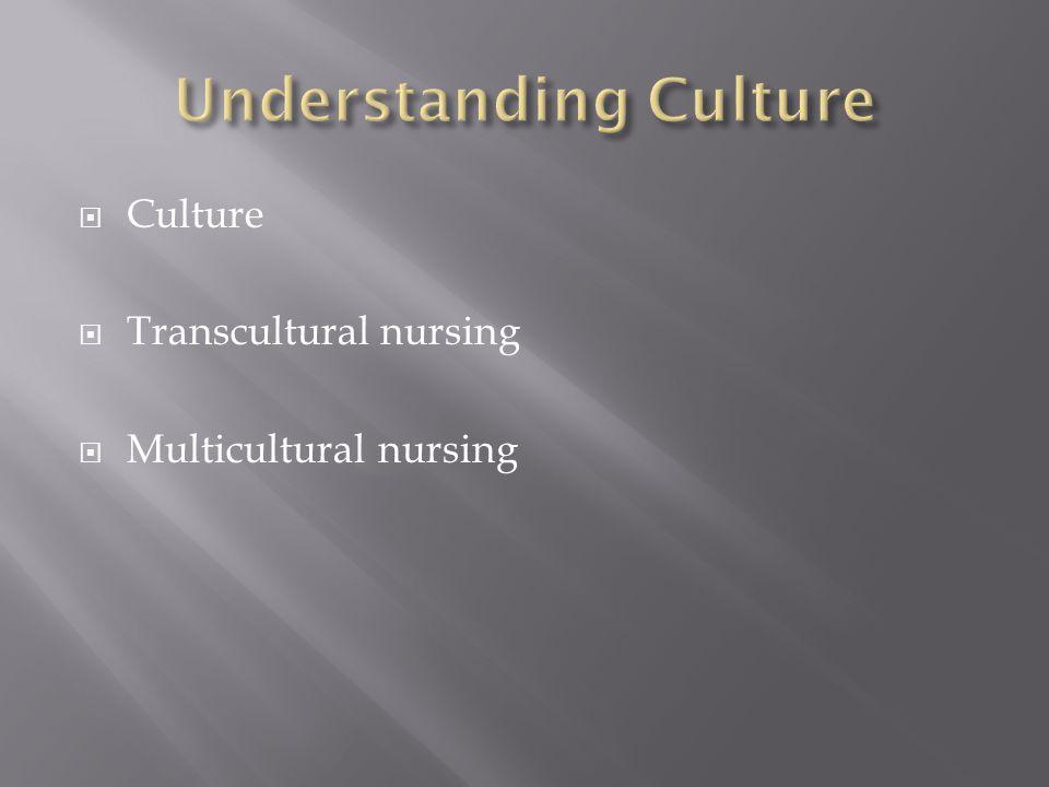  Culture  Transcultural nursing  Multicultural nursing