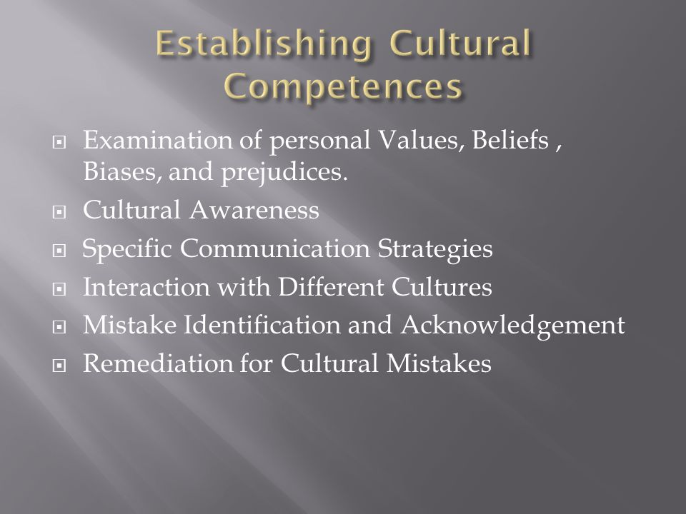  Examination of personal Values, Beliefs, Biases, and prejudices.  Cultural Awareness  Specific Communication Strategies  Interaction with Differe