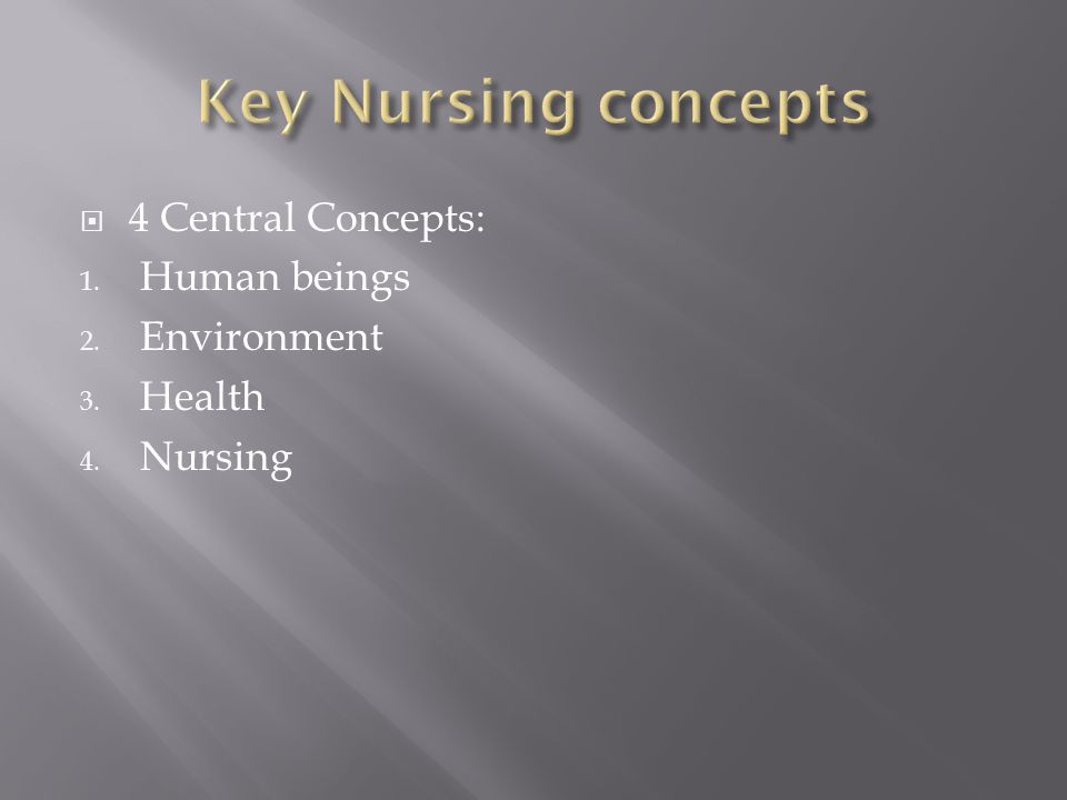  4 Central Concepts: 1. Human beings 2. Environment 3. Health 4. Nursing