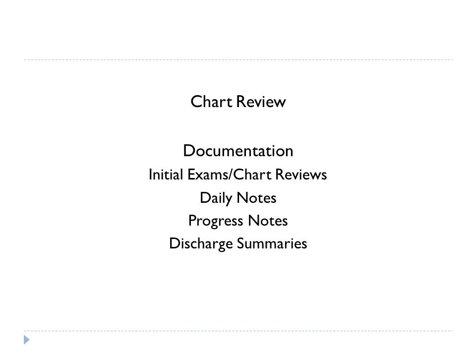 Chart Review Documentation Initial Exams/Chart Reviews Daily Notes Progress Notes Discharge Summaries