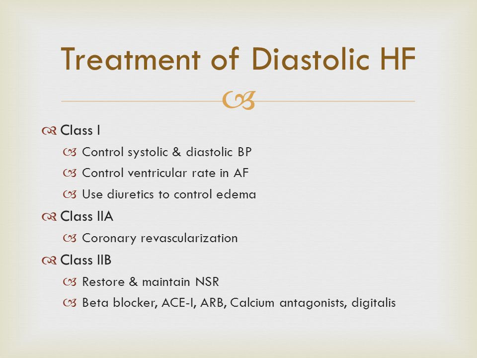   Class I  Control systolic & diastolic BP  Control ventricular rate in AF  Use diuretics to control edema  Class IIA  Coronary revascularizati