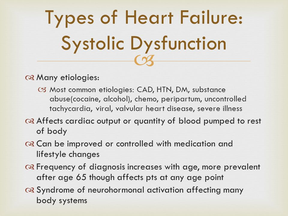   Many etiologies:  Most common etiologies: CAD, HTN, DM, substance abuse(cocaine, alcohol), chemo, peripartum, uncontrolled tachycardia, viral, va