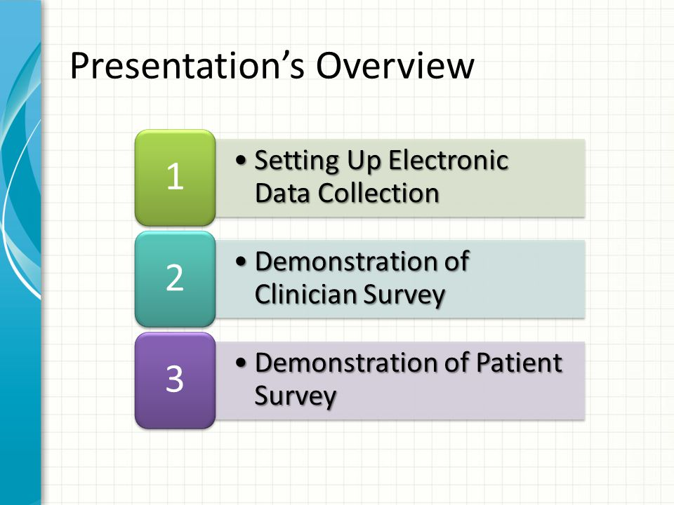 Patient Answers Survey Questions Dr.Hunter Mollin will review the questions in class.