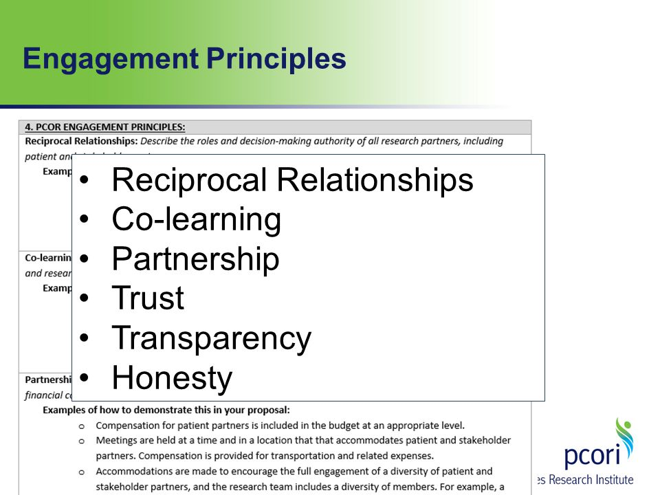 Reciprocal Relationships Co-learning Partnership Trust Transparency Honesty