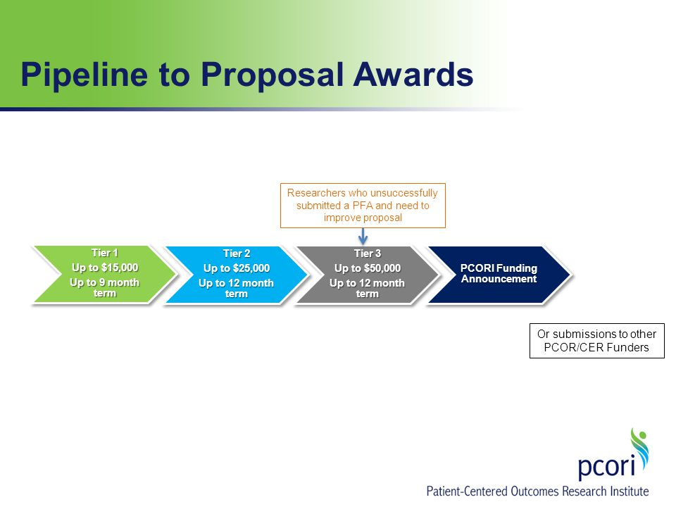 Tier 1 Up to $15,000 Up to 9 month term Tier 2 Up to $25,000 Up to 12 month term Tier 3 Up to $50,000 Up to 12 month term PCORI Funding Announcement Researchers who unsuccessfully submitted a PFA and need to improve proposal Pipeline to Proposal Awards Or submissions to other PCOR/CER Funders