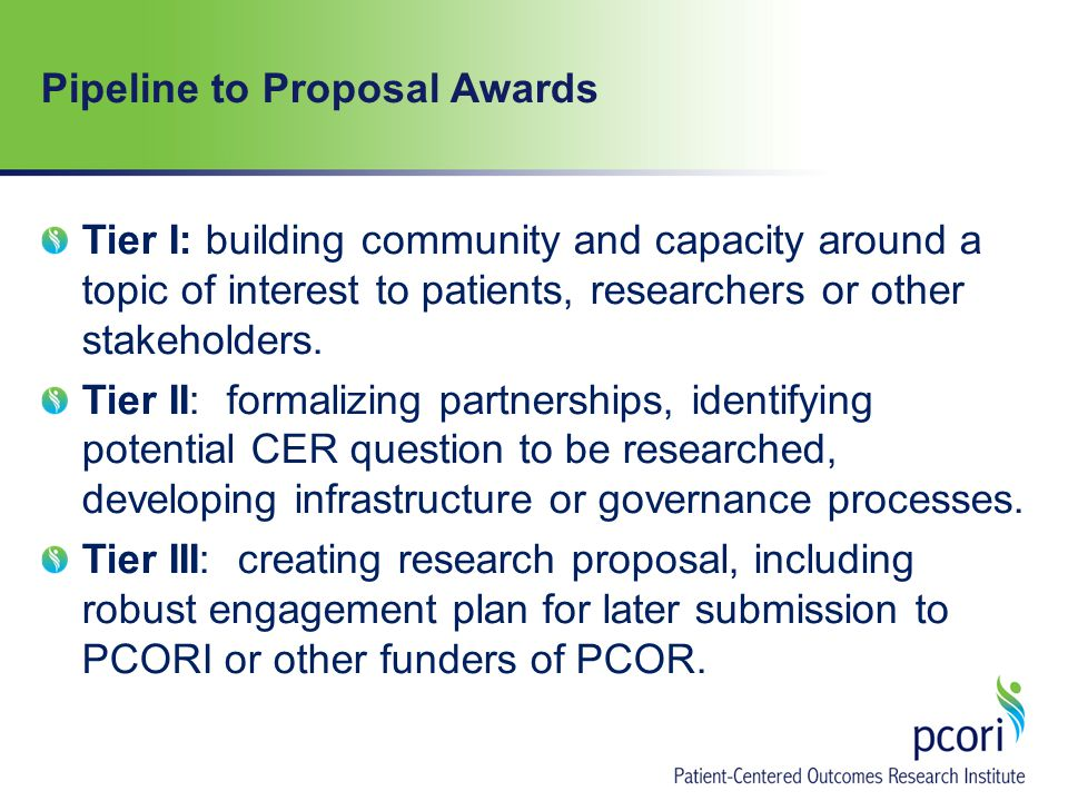 Pipeline to Proposal Awards Tier I: building community and capacity around a topic of interest to patients, researchers or other stakeholders.