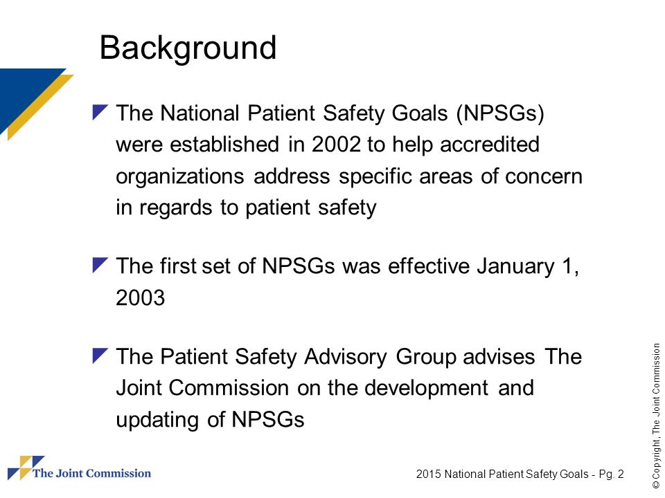 2015 National Patient Safety Goals - Pg.