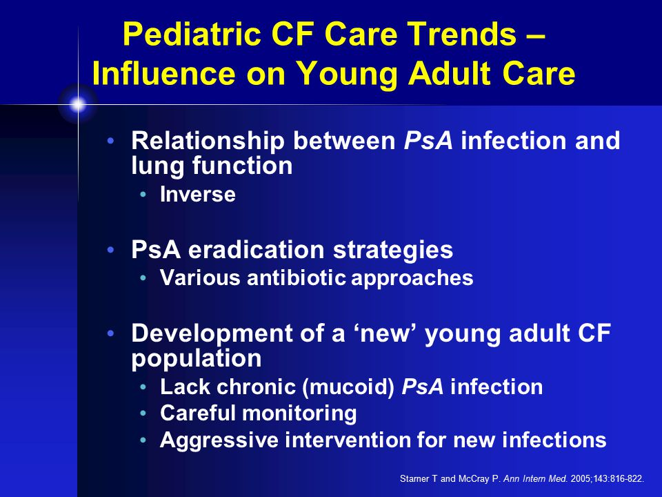 Pediatric CF Care Trends – Influence on Young Adult Care Relationship between PsA infection and lung function Inverse PsA eradication strategies Various antibiotic approaches Development of a 'new' young adult CF population Lack chronic (mucoid) PsA infection Careful monitoring Aggressive intervention for new infections Starner T and McCray P.
