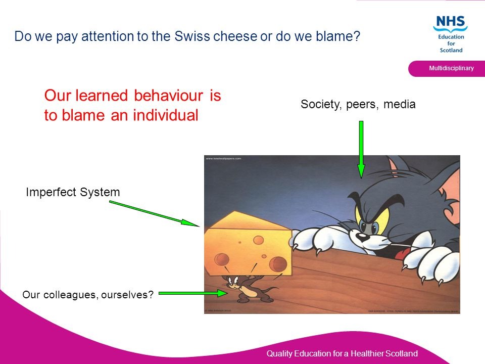 Quality Education for a Healthier Scotland Multidisciplinary Do we pay attention to the Swiss cheese or do we blame? Our learned behaviour is to blame