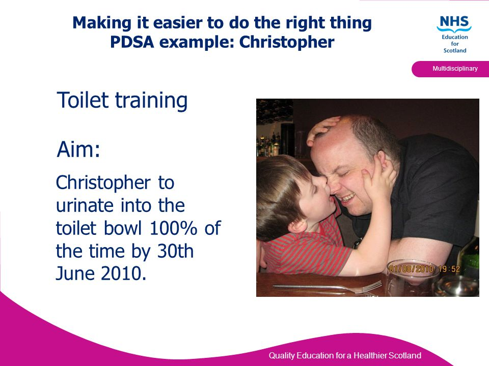 Quality Education for a Healthier Scotland Multidisciplinary Making it easier to do the right thing PDSA example: Christopher Christopher to urinate i