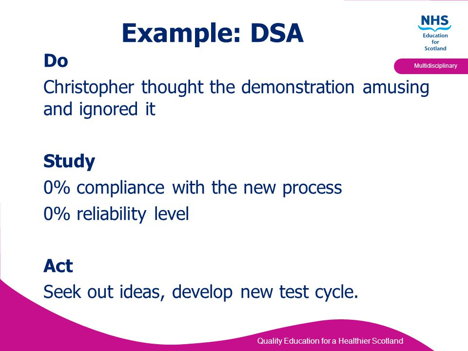 Quality Education for a Healthier Scotland Multidisciplinary Example: DSA Do Christopher thought the demonstration amusing and ignored it Study 0% com