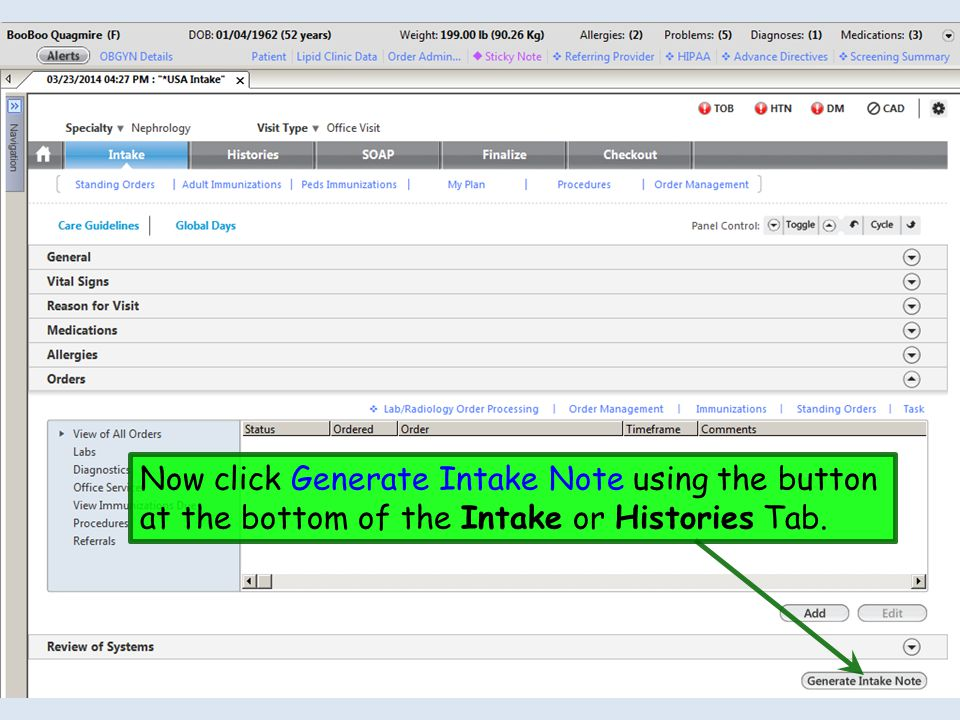 Now click Generate Intake Note using the button at the bottom of the Intake or Histories Tab.