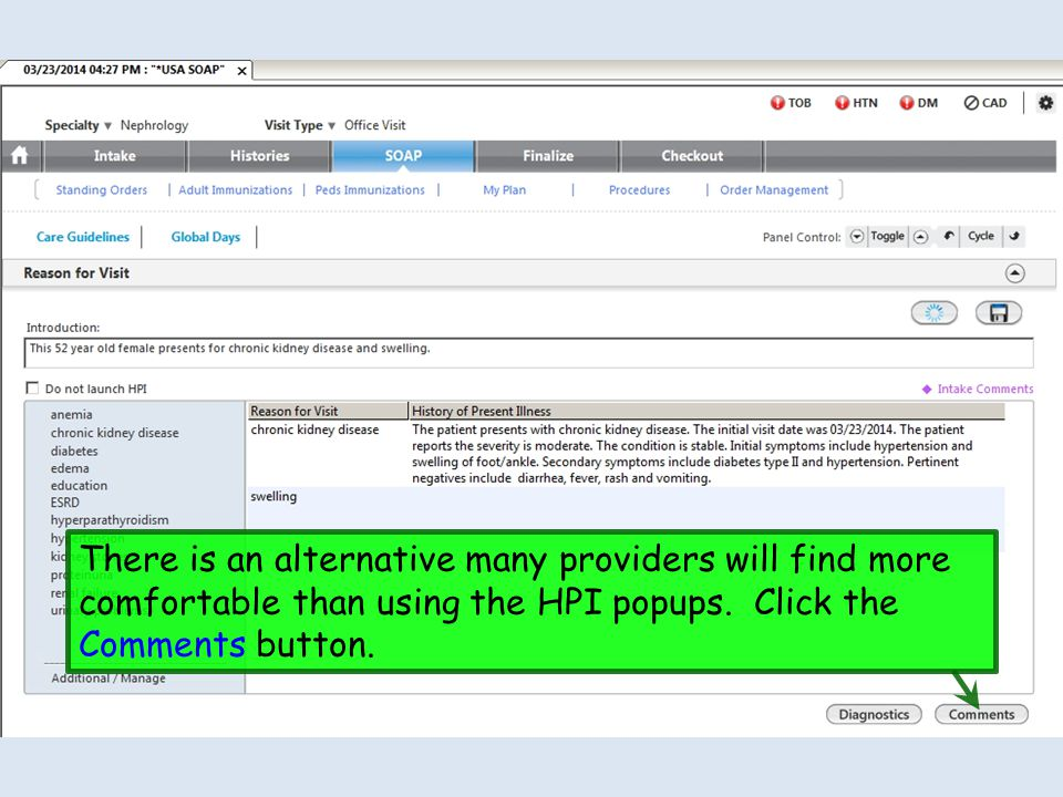 There is an alternative many providers will find more comfortable than using the HPI popups. Click the Comments button.