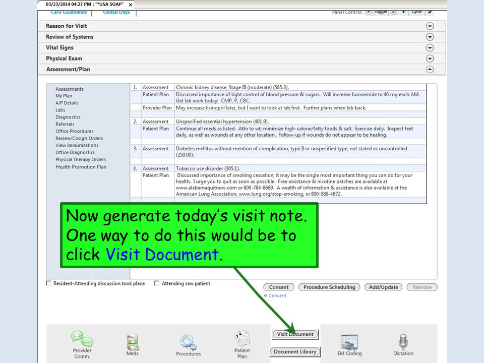 Now generate today's visit note. One way to do this would be to click Visit Document.