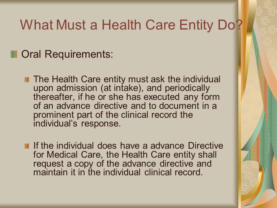 What Must a Health Care Entity Do.