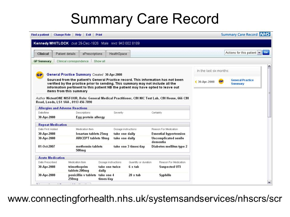 Summary Care Record www.connectingforhealth.nhs.uk/systemsandservices/nhscrs/scr