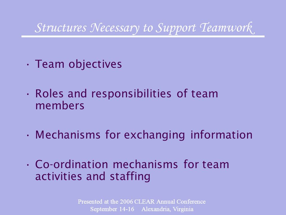 Presented at the 2006 CLEAR Annual Conference September 14-16 Alexandria, Virginia Structures Necessary to Support Teamwork Team objectives Roles and responsibilities of team members Mechanisms for exchanging information Co-ordination mechanisms for team activities and staffing