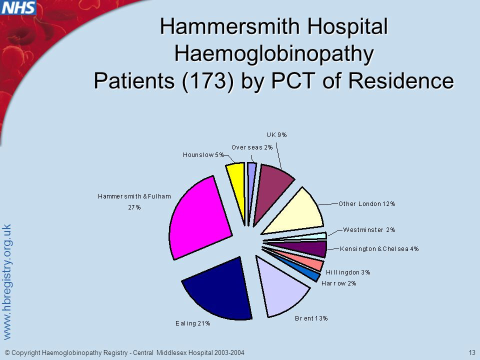 www.hbregistry.org.uk 13 © Copyright Haemoglobinopathy Registry - Central Middlesex Hospital 2003-2004 Hammersmith Hospital Haemoglobinopathy Patients (173) by PCT of Residence