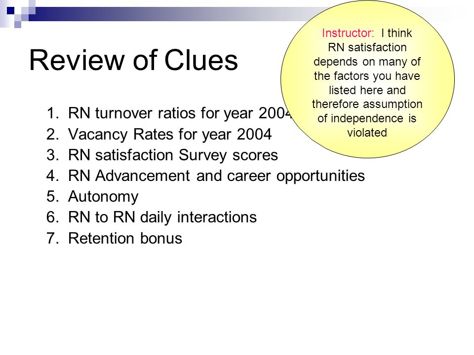 Review of Clues 1. RN turnover ratios for year 2004 2.