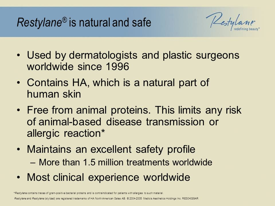Restylane and Restylane (stylized) are registered trademarks of HA North American Sales AB. © 2004-2005 Medicis Aesthetics Holdings Inc. RES04089AR Re