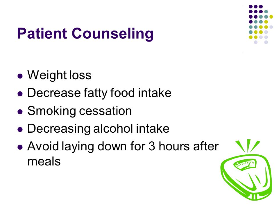 Patient Counseling Weight loss Decrease fatty food intake Smoking cessation Decreasing alcohol intake Avoid laying down for 3 hours after meals