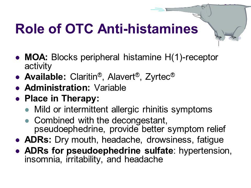 Role of OTC Anti-histamines MOA: Blocks peripheral histamine H(1)-receptor activity Available: Claritin ®, Alavert ®, Zyrtec ® Administration: Variabl