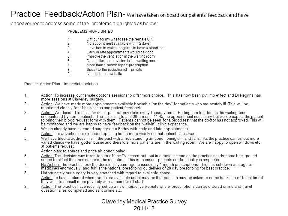 Claverley Medical Practice Survey 2011/12 Practice Feedback/Action Plan- We have taken on board our patients' feedback and have endeavoured to address