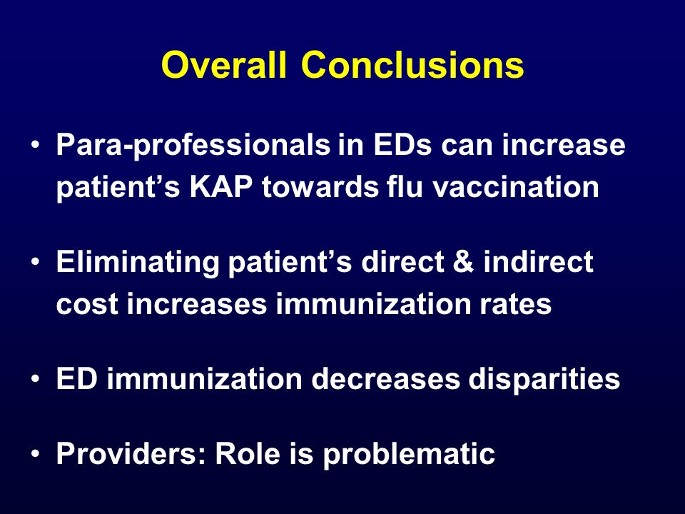 Overall Conclusions Para-professionals in EDs can increase patient's KAP towards flu vaccination Eliminating patient's direct & indirect cost increases immunization rates ED immunization decreases disparities Providers: Role is problematic