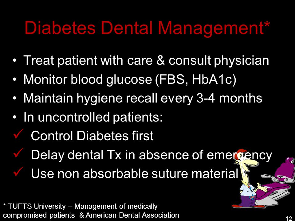 Diabetes Dental Management* Treat patient with care & consult physician Monitor blood glucose (FBS, HbA1c) Maintain hygiene recall every 3-4 months In