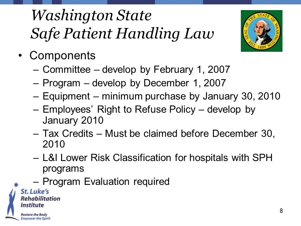 8 Washington State Safe Patient Handling Law Components –Committee – develop by February 1, 2007 –Program – develop by December 1, 2007 –Equipment – m