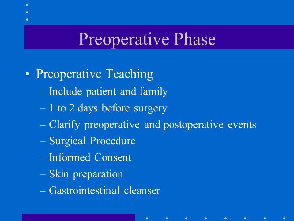 Preoperative Phase Preoperative Teaching –Include patient and family –1 to 2 days before surgery –Clarify preoperative and postoperative events –Surgi