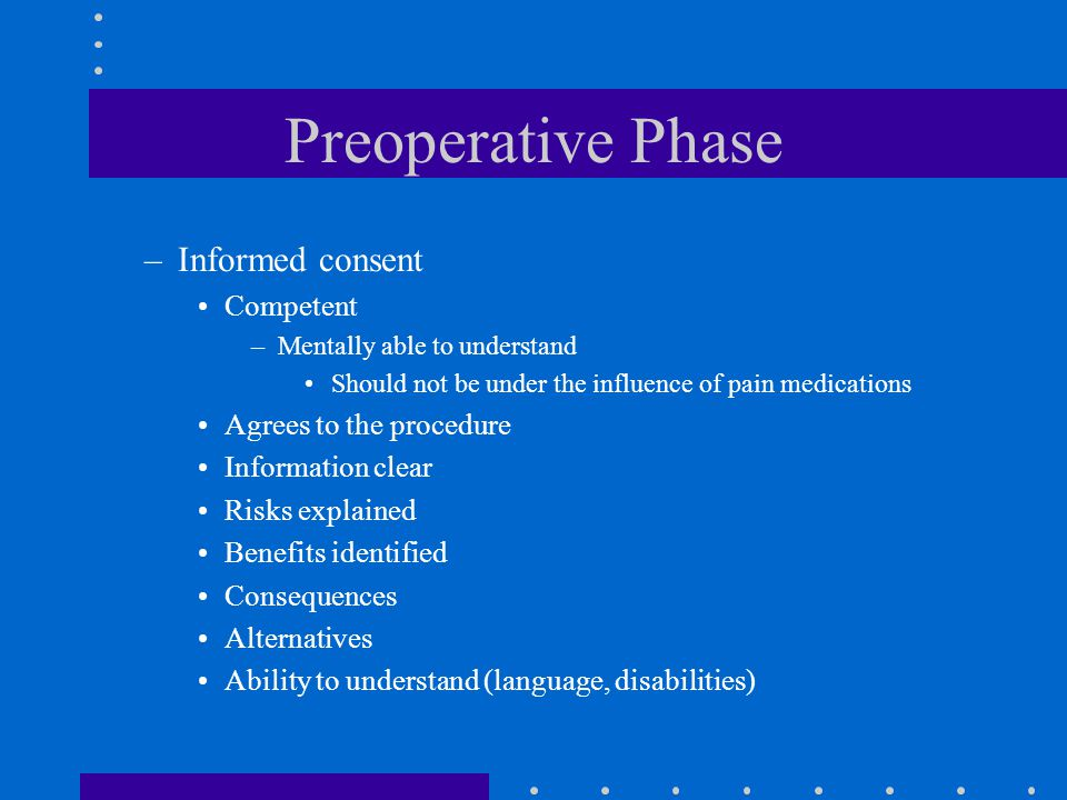 Preoperative Phase –Informed consent Competent –Mentally able to understand Should not be under the influence of pain medications Agrees to the proced