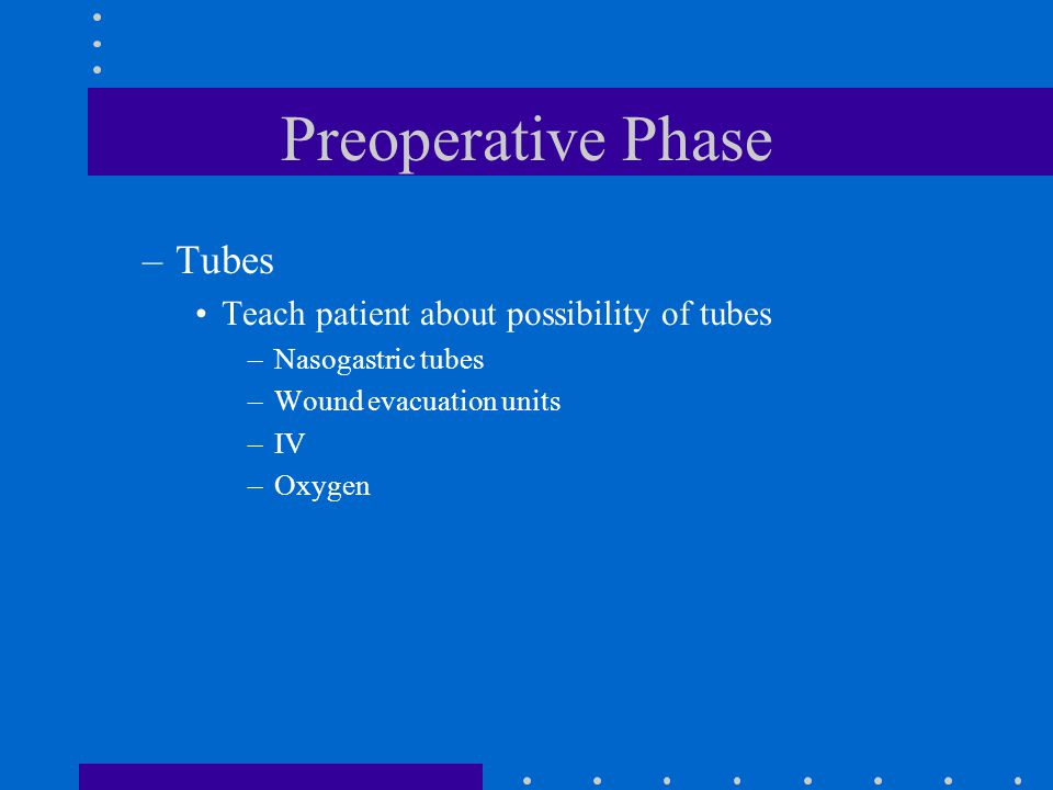 Preoperative Phase –Tubes Teach patient about possibility of tubes –Nasogastric tubes –Wound evacuation units –IV –Oxygen
