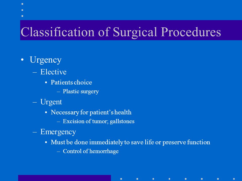 Classification of Surgical Procedures Urgency –Elective Patients choice –Plastic surgery –Urgent Necessary for patient's health –Excision of tumor; ga
