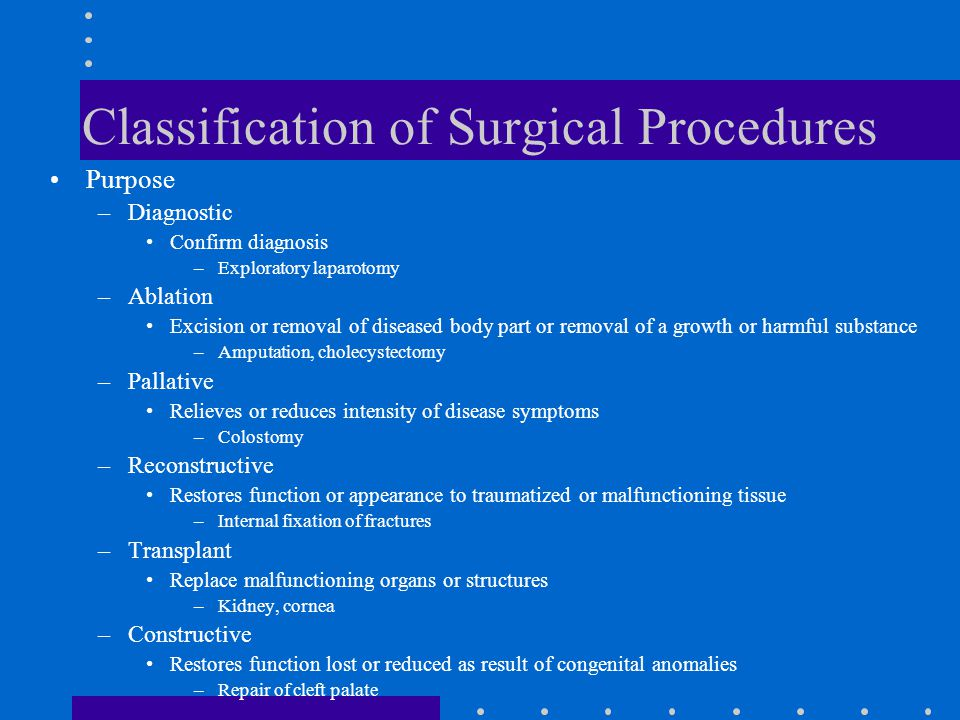 Classification of Surgical Procedures Purpose –Diagnostic Confirm diagnosis –Exploratory laparotomy –Ablation Excision or removal of diseased body par