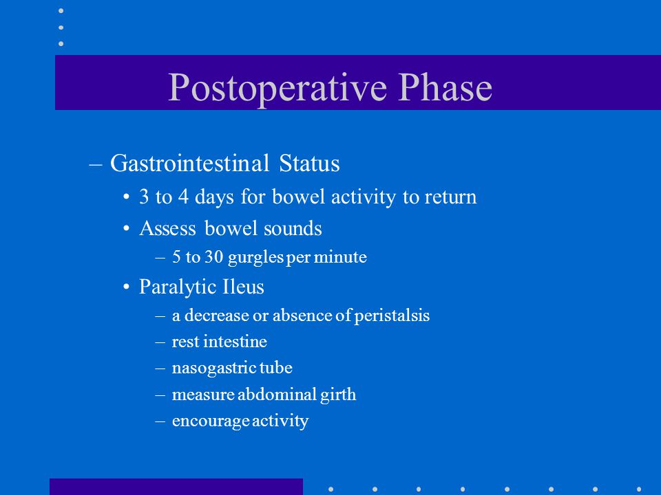 Postoperative Phase –Gastrointestinal Status 3 to 4 days for bowel activity to return Assess bowel sounds –5 to 30 gurgles per minute Paralytic Ileus