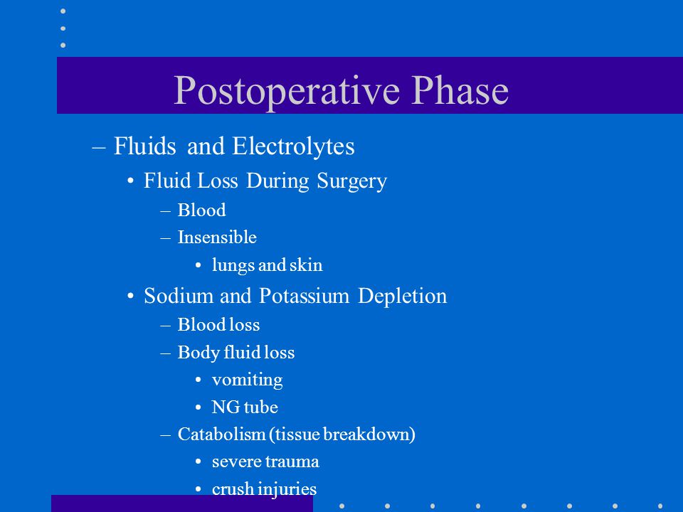 Postoperative Phase –Fluids and Electrolytes Fluid Loss During Surgery –Blood –Insensible lungs and skin Sodium and Potassium Depletion –Blood loss –B