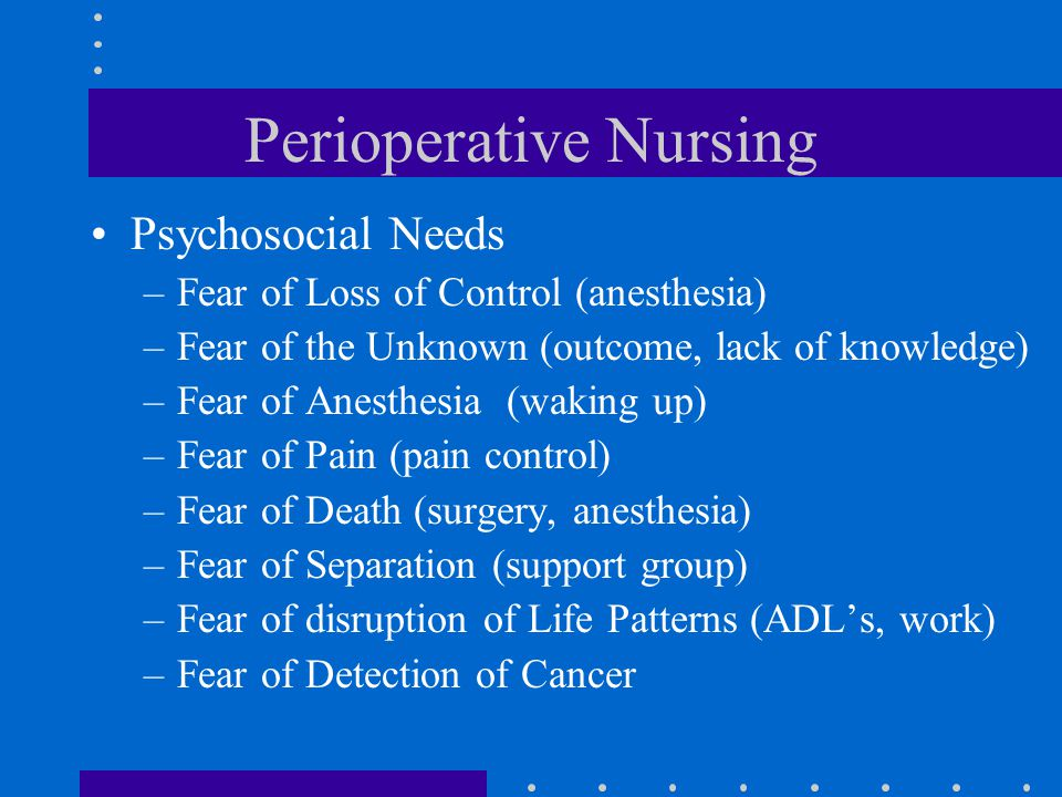 Postoperative Phase –Gastrointestinal Status 3 to 4 days for bowel activity to return Assess bowel sounds –5 to 30 gurgles per minute Paralytic Ileus –a decrease or absence of peristalsis –rest intestine –nasogastric tube –measure abdominal girth –encourage activity