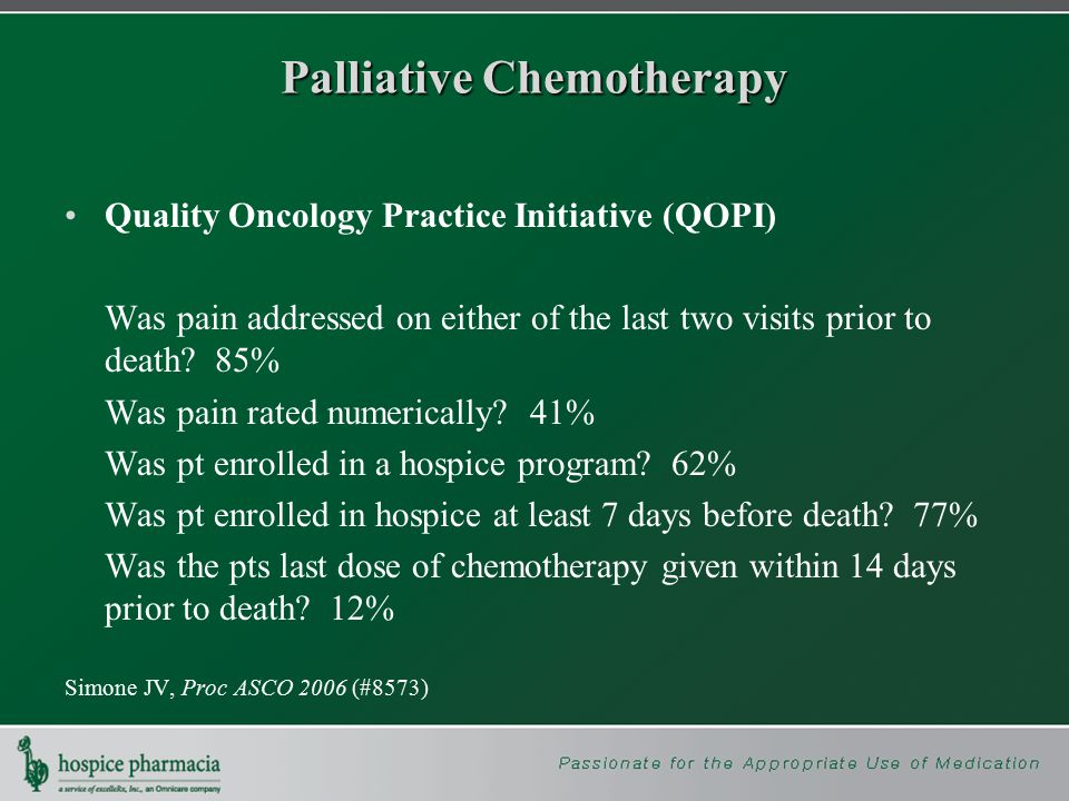 Palliative Chemotherapy Quality Oncology Practice Initiative (QOPI) Was pain addressed on either of the last two visits prior to death.