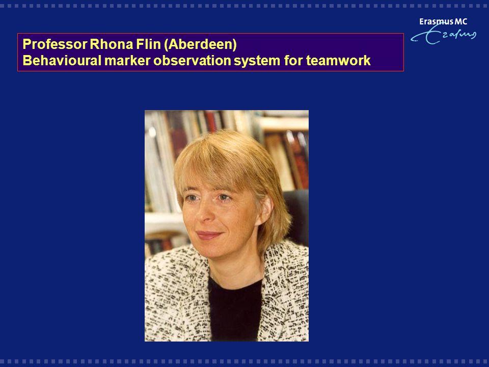 Professor Rhona Flin (Aberdeen) Behavioural marker observation system for teamwork