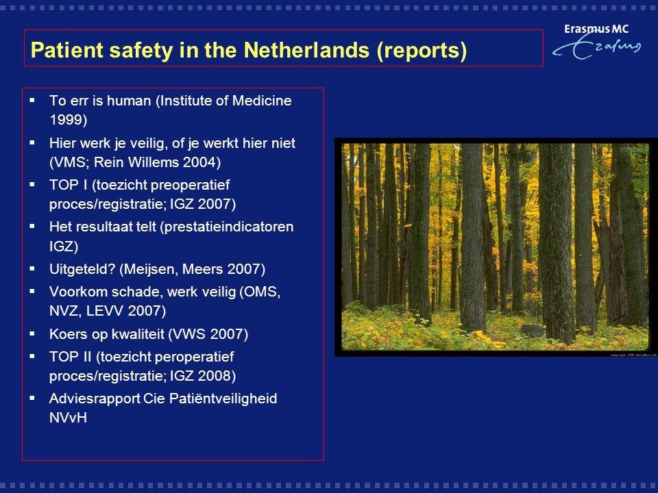 Patient safety in the Netherlands (reports)  To err is human (Institute of Medicine 1999)  Hier werk je veilig, of je werkt hier niet (VMS; Rein Willems 2004)  TOP I (toezicht preoperatief proces/registratie; IGZ 2007)  Het resultaat telt (prestatieindicatoren IGZ)  Uitgeteld.