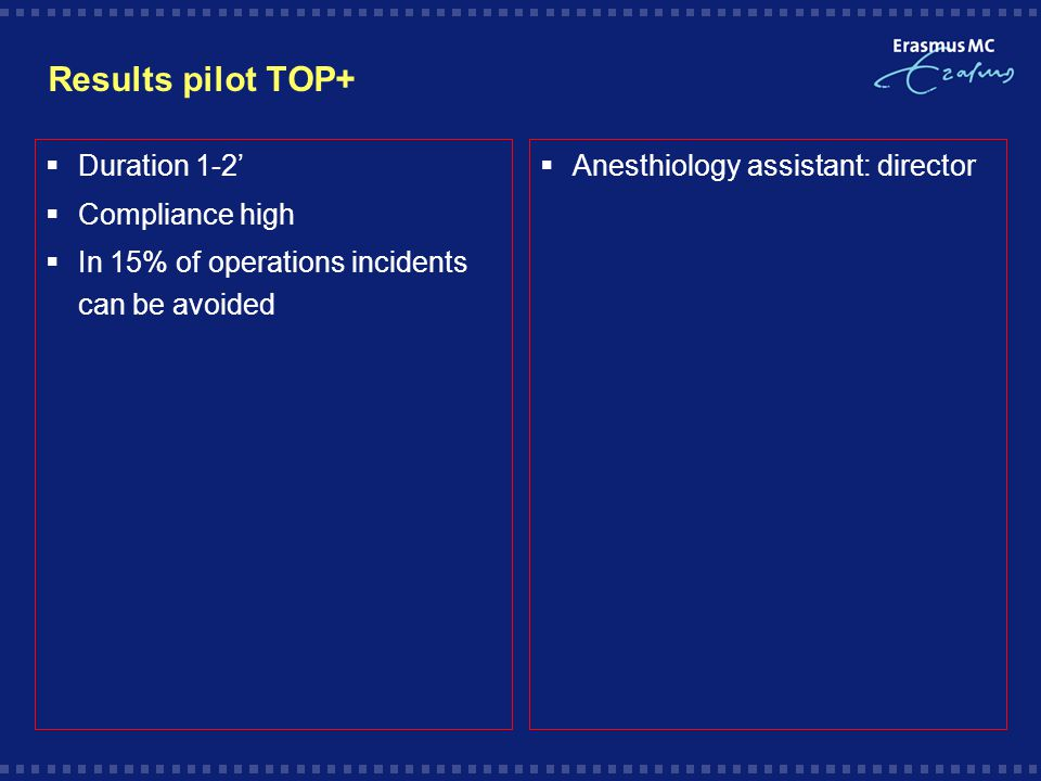 Results pilot TOP+  Duration 1-2'  Compliance high  In 15% of operations incidents can be avoided  Anesthiology assistant: director