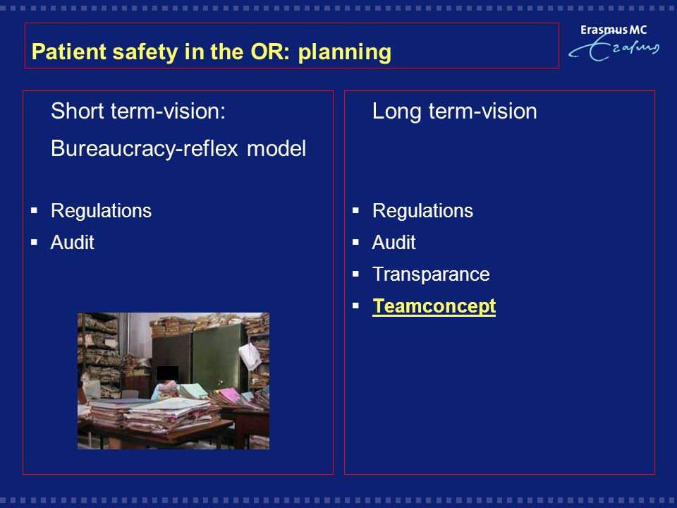 Patient safety in the OR: planning  Short term-vision:  Bureaucracy-reflex model  Regulations  Audit  Long term-vision  Regulations  Audit  Transparance  Teamconcept
